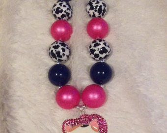 Navy Blue and Pink Cowgirl Callie cowprint Necklace
