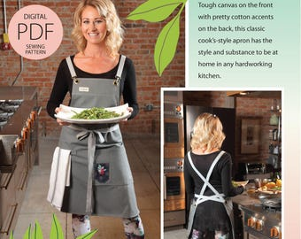 Cook's Apron Digital PDF Sewing Pattern in Classic Long Silhouette w/task pockets, handy towel loop & wrap ties-as seen in Where Women Cook