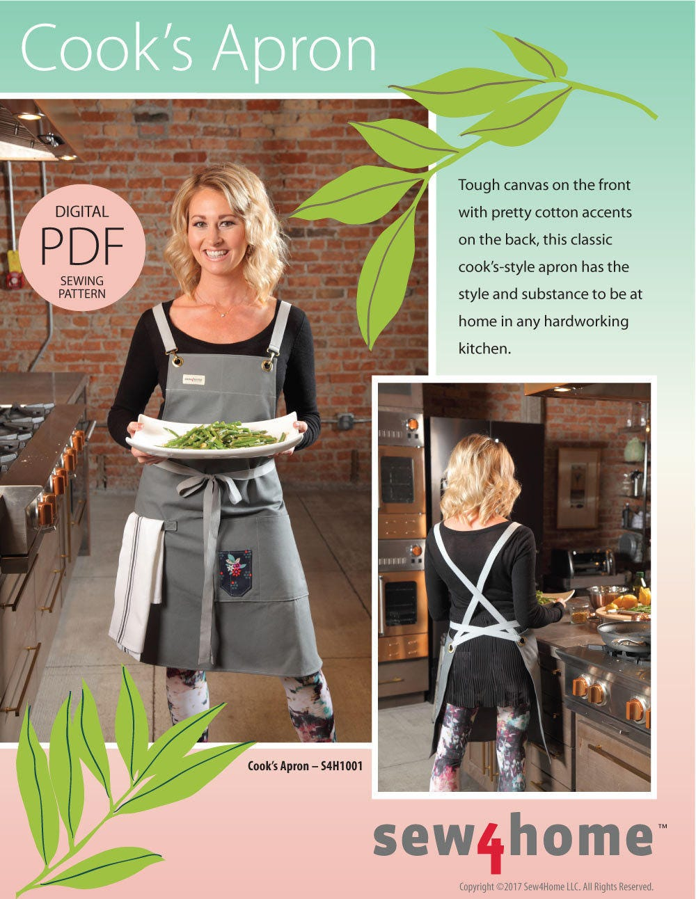 Cook S Apron Digital Pdf Sewing Pattern In Classic Long