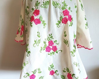 Large Ivory embroidered Boho swing Top large perfect hippy festival blouse