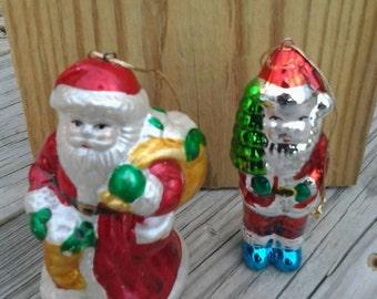 Two Retro Santa Claus Christmas Ornaments Christmas Tree