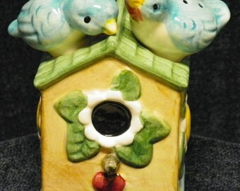 Bluebirds Salt and Pepper shakers/ Birds atop Birdhouse