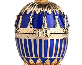 Russian Faberge Style Egg / Trinket Jewel Box with Russian Emperor's Crown 8.5cm (3.3'') blue