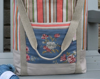 Retro Seaside Knitting Bag/Tote bag