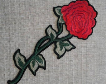 Embroidered red flower patch applique