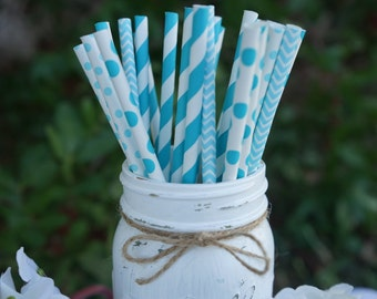 Blue Paper Straws, Baby Shower, Bridal Shower, Wedding