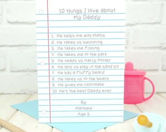 Dad Birthday Card - Things I Love About Daddy Personalised Card - Fathers Day Card - From the Kids Card - Birthday Card for Him - Keepsake