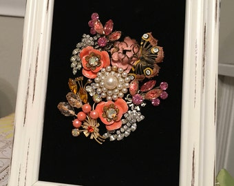 Vintage Jewelry Framed Art Collage