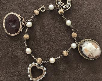 Vintage 14k Gold Charm Pearl Bracelet