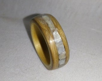 Oak and seashell bent wood ring
