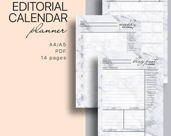 Blog Editorial Calendar + Blog Post Printable Planner  - Blog Planning Kit, Weekly and Monthly Editorial Calender, Blog Post Planner
