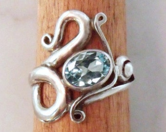 Silver ring with Blue Topaz 'Air dragons 4'