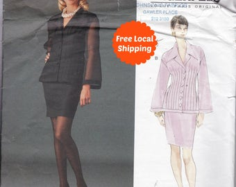 Sewing Patterns For Women Vogue Designer Pattern Lagerfeld High Fashion Long Sleeve Dress Pattern Sizes 12,14,16 Vogue 1565 Straight Skirt