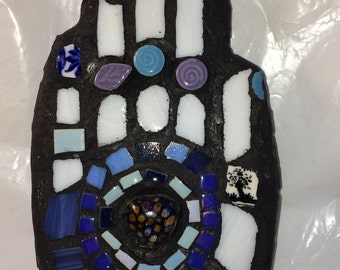 Mosaic 'Blue By You' Hand Wall Art