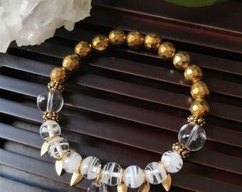 Gold Hematite / Crystal Quartz Yoga Mala Beaded Bracelet. Healing Natural Gemstone Bracelet. Protection Mala. Meditation Bracelet.