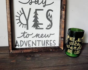 """Framed wood sign, 12""""x 12"""" framed wood sign, Say Yes to New Adventures sign, 12""""x 12"""" wood sign, Wood Home Decor signs, Wood Quote Signs"""