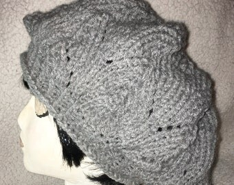 Slouchy Beret Hand Made Knit Hat Grey Gray Floppy Weekender Fashion Cap One Size Fits All