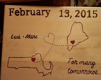 Custom Two Hearts Connected Wood Burned