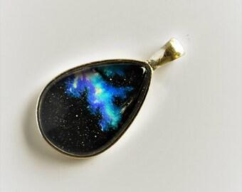 Magic Blue & Mauve Galaxy Pendant - One of A Kind!