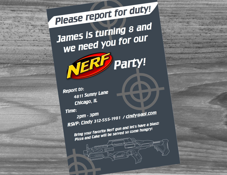 Nerf birthday party invitation 5x7 custom made e10261624441552206m nerf birthday party invitation 5x7 custom made filmwisefo