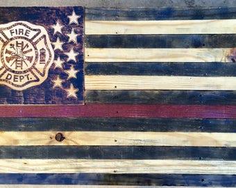 Rustic wooden fireman flag. Reclaimed pallet