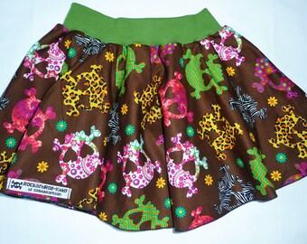 "Skirt ""Skulls"" SKULLS rock girl Gr. 116 100% cotton/cotton unique"
