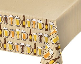 Cheers and Beers Party Tablecover/ Beer Party Tablecover/ Beer Theme Tablecover/ Beer Party Supplies