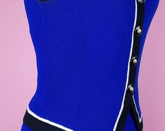 St John Collection by Marie Gray Vintage 1990s 2pc Fitted Blue Knit Sweater & Skirt Set sz M/6