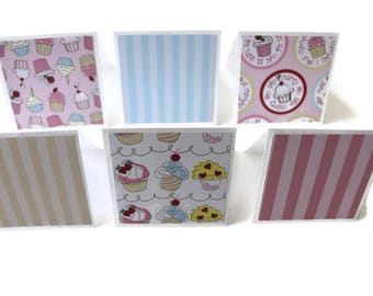 Cupcake Themed Cards, Thank you Cards, Note cards, Gift Tags, Lunch Box Notes, 3x3 inch cards, Note Card Set, Set of 6