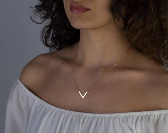 Delicate V Necklace - Tiny V Necklace - Dainty Minimal V Necklace -  Simple Geometric Layering Necklace - Layering Necklace - Gift For Her