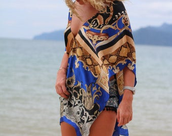 Short Royal Blue Printed Silk Cover-Up