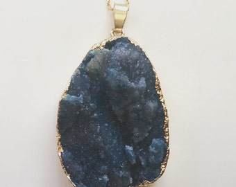 16K Gold Dark Blue Agate Pendant Necklace
