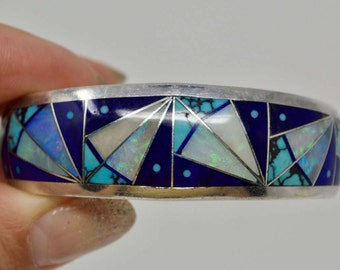 Zuni Clayton Panteah Multi Stone Inlay Sterling Silver Cuff Bracelet - Native American - Opal Turquoise Lapis - Rare - 6 1/8 Inches - Bangle