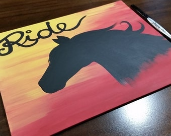 Western Ride - Acrylic 8x10 Painting on Canvas