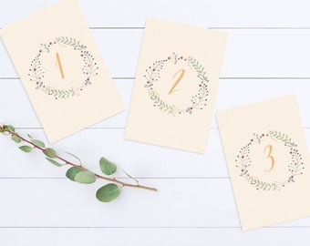 Floral Wreath Table Number Cards - Wedding Reception - Printable file - Flowers - Modern - Boho - Romantic - Dreamy - Pastels - Wild Flowers