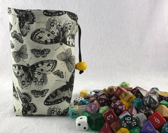 Butterfly Dice Bag - Reversible Dice Pouch - Made with Butterfly - Flowers Fabric - Flower Dice Bag - Butterfly Dice Bag
