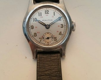 Vintage MALTON boy size gents watch from the WW2 era--------SERVICED------