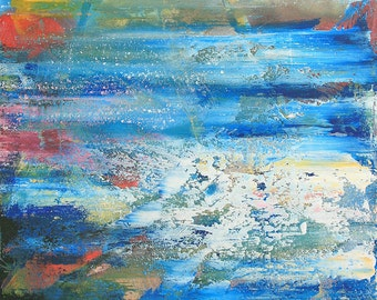 Art modern abstract composition in blue 2/3 (W 8-2) canvas 70 x 50 cm contemporary original directly from the artist Heiko Jänicke