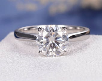 Moissanite Engagement Ring Solitaire Wedding Ring White Gold Bridal Set Women Promise Anniversary Simple Traditional Wedding Gift Round Cut