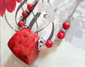 Authentic Red Sea Sponge Coral Necklace & Earrings