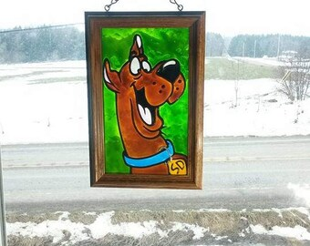 Scooby Doo | Window Art | faux stained glass | painted glass | window decoration | sun catcher