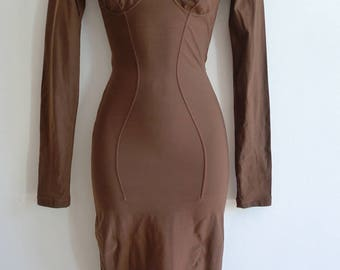 Junior Gaultier tight fitting stretch dress with bust seam detail in nutmeg brown XS