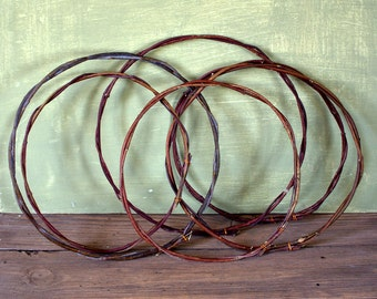 Set of 6 willow  and dogwood hoops, Dreamcatcher circle, Native American style, Natural twig dreamcatcher, Art craft supplies,  Boho style