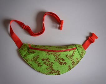 Banana Bag (Green with Red tree print)