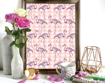 Pink Tropical Flamingo Print, Illustration, Wall Art, Drawing A3, A4, A5