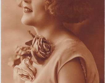 Gorgeous Flapper | Clutches Rose Against Breast | Thoughts of An Ardent Admirer | Lady In Profile | 1920's Antique Postcard |