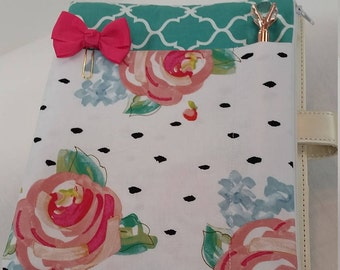 Planner Zipper Pouch - Teal w/Flowers