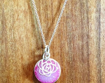 Pink druzy necklace with rose charm