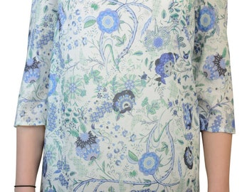 pattern tunic - floral blouse -  asymmetrical blouse - tunic with 3 4 sleeves - viscose blouse - blouse with tail - long shirt - graphic tee