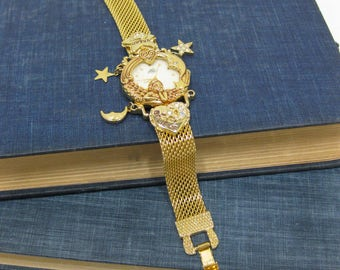 Kirk's Folly 15th Anniversary Angel Time Gold Tone Watch with Charms